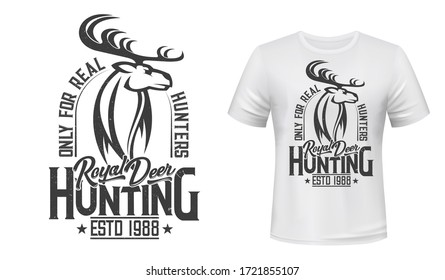 Deer animal, hunting club t-shirt mockup. Vector reindeer wild animal for apparel print custom design. Hunting sport club, deer or reindeer stag head with stars