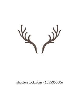 Deer antler illustration logo vector template