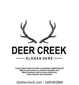 Deer antler ilustration logo vector template