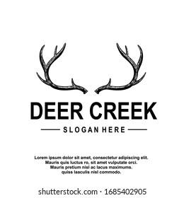Deer antler ilustration logo vector template