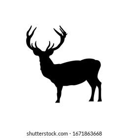 Deer antler line art silhouette Christmas