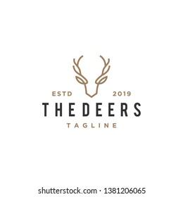 deer antler line logo design