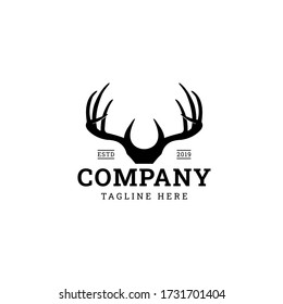 Deer antler logo for hunter club vector design