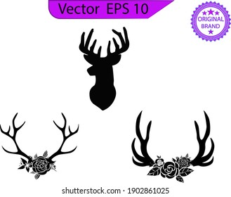 Deer and Antlers flower clip art, print, animal