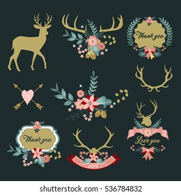 Deer antlers with flowers, Deer and Floral clipart, Thank you clipart, Love you vectors, Shabby Chic, Wedding invitation, floral bouquett