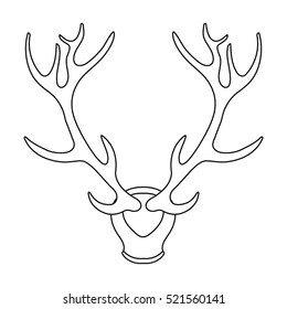 Deer antlers horns icon in outline style isolated on white background. Hunting symbol stock vector illustration.