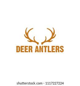 deer antlers logo illustration vector and outdoor