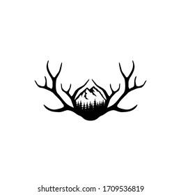 Deer Antlers Logo. Antlers Vector Template Design.