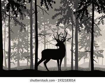 Deer with antlers posing, forest background, silhouettes of trees. Magical misty landscape. Illustration.