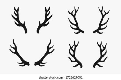 deer antlers rustic hand drawn vintage illustration vector elements set. stamp silhouette logo graphic design icons. wildlife deer horn shape  doodles simple resources
