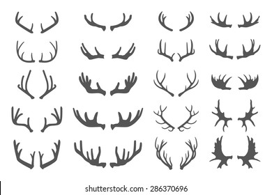 Deer antlers. Set of various silhouettes - large, branched and acute isolated on white. Collection of vector elements on the theme of of hunting, tourism and environment.