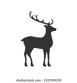 Deer with antlers symbol is a black silhouette. Wild forest animal side view. Vector illustration isolated on white background