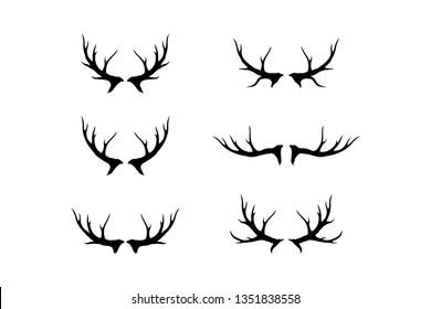 deer antlers vector icon set, horn or antler symbol
