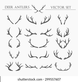 deer antlers. vector set