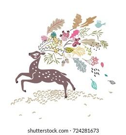 deer with autumn in horns