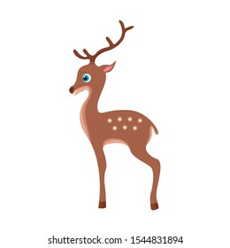 Deer baby Isolated on a white background. Vector illustration of a cute deer in cartoon simple flat style.