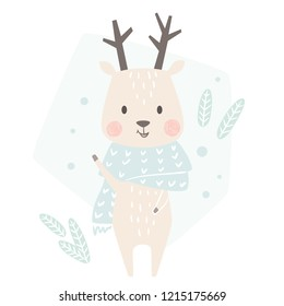 Deer baby winter print. Cute animal in warm scarf christmas card. Cool reindeer illustration for nursery, t-shirt, kids apparel, party and baby shower invitation. Simple scandinavian child design.