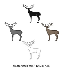 Deer with big horns.Animals single icon in cartoon style vector symbol stock illustration web.