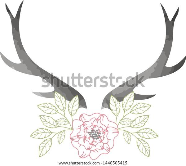 Deer Buck Antlers with Flowers and Leaves