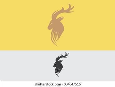 Deer buck antlers luxury emblem flat logo vector