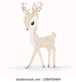 Deer cartoon illustration design.Cute bambi animal vector.Merry christmas card.