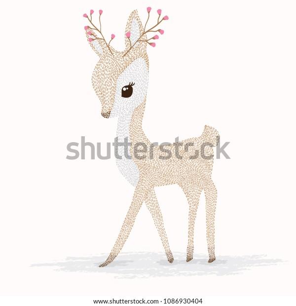 鹿の漫画イラストデザイン かわいいバンビの動物ベクター画像 メリー