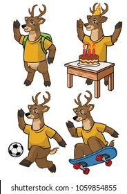 deer cartoon set
