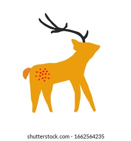 Deer character design. Cute cartoon animal vector illustration. Abstract icon for baby posters, art prints, fashion apparel or stickers.