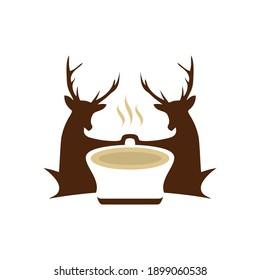 deer coffee logo design inspiration vector template