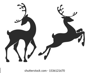 Deer collection. Stand and jumping young deers. Graceful style for Christmas and New Year festive designs. Silhouette, isolated on white background. Vector illustration.