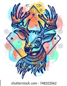 Deer color tattoo and t-shirt design. Symbol of winter, new year