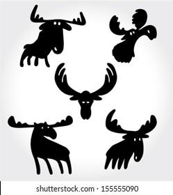 Deer Comic Silhouettes Set