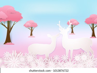 Deer couple and pink floral in meadow paper art style, Valentine concept paper craft style illustration