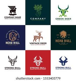 Deer, cow, bull logo design. Creative unique business Logo design collection. Original logo design inspiration.