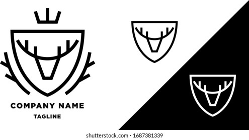 deer crown coat of arms vector logo concept