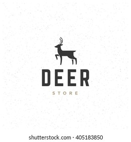 Deer Design Element in Vintage Style for Logo, Label. Hunting Club Retro vector illustration. Deer Silhouette.