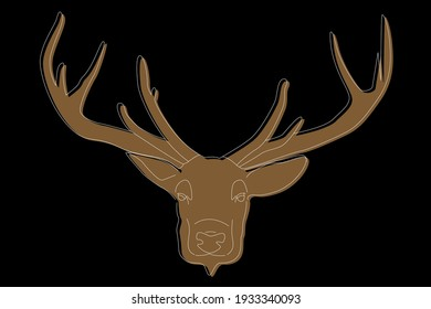 Deer drawing. Deer head full face. Simple line drawing of a deer. Wild animal