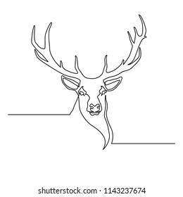 The deer is drawn by one black line on a white background. Continuous line drawing. Vector illustration.
