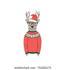 deer dressed up in funny Christmas sweater, furry art illustration