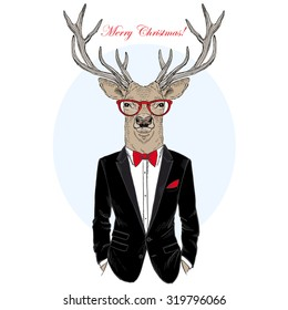 deer dressed up in tuxedo, hand drawn graphic, Merry Christmas and Happy New Year design