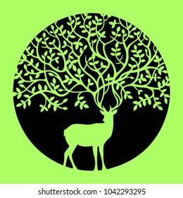Deer Elk Doe Hind Tree Leaf Silhouette Circle Vector Solid Stencil Pattern Green