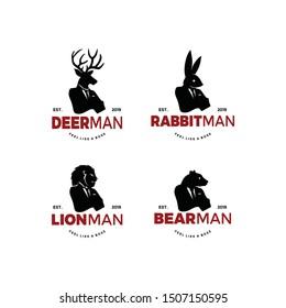 Deer Elk Lion Rabbit Bunny Bear Polar animal man bundle set worker man logo silhouette with head of elk moose head and human body. unique cool design. wear suit coat, tie like a boss.