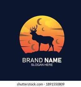 Deer ,elk mascot logo flat design vector
