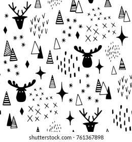 Deer and elk in snow forest abstract seamless pattern. Christmas mood. Hand drawn vector black and white illustration. Cartoon doodle. Background, wallpaper. Colouring page. Web,print,fabric texture.