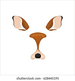 Deer face elements. Vector illustration. Animal character ears and nose. Video chart filter effect for selfie photo decoration. Constructor.Cartoon brown deer mask. Isolated on white. Easy to edit.