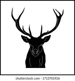 deer face icon animal black vector illustration