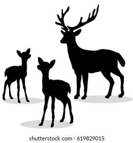 Deer family silhouette black on white background