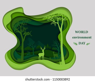 Deer family silhouette on green paper cut shape abstract background,save nature and environment conservation concept with forest wilderness landscape