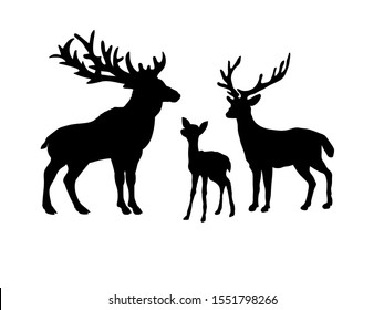 Deer family. Silhouettes of animals. Vector illustrator
