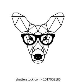 Deer female in glasses. Geometric style. Vector illustration.